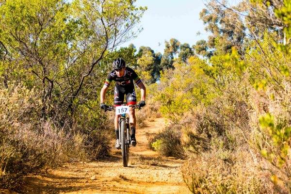 BCX rider HB Kruger led from start to finish to claim the honours in the 60km feature race of the Paarl MTB Classic in Rhebokskloof Wine Estate today. Photo: Robert Ward