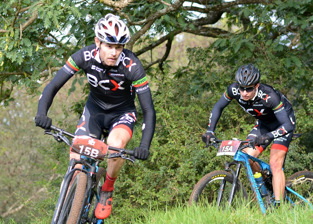 Waylon Woolcock (left) and HB Kruger of BCX negotiate a technical section en route to winning the final stage and overall title at the PwC Great Zuurberg Trek mountain bike race outside Port Elizabeth today. Photo: Full Stop Communications