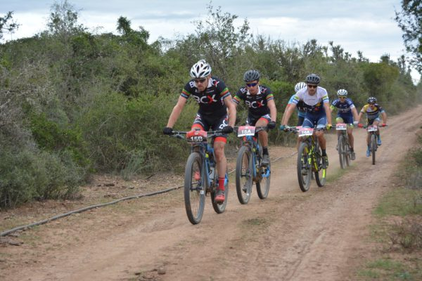 Waylon Woolcock (left) and HB Kruger of BCX drive the pace en route to winning the first stage of the PwC Great Zuurberg Trek mountain bike race outside Port Elizabeth today. Photo: Shayne Minott