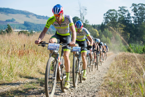 The PYGA Euro Steel pair of Matthys Beukes (front) and Philip Buys (second) are currently in the lead after the first stage of the 2017 KAP sani2c and will go into the final stage from Jolivet to Scottburgh with their advantage still intact. Anthony Grote/ Gameplan Media
