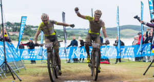 Philip Buys (left) and Matthys Beukes from Team PYGA Euro Steel cross the line first to win the final stage at the 2017 KAP sani2c from Jolivet to Scottburgh on Saturday, and with it the overall victory. Anthony Grote/ Gameplan Media