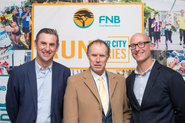 Stillwater Sports, the organisers of the FNB Cape Town 12 ONERUN and the FNB Joburg 10K CITYRUN are excited to launch the FNB Durban 10K CITYSURFRUN (taking place on Sunday, 08 October 2017) as part of the 'Run Your City' series.  The FNB Durban 10K CITYSURFRUN will highlight the true beauty of Durban, while granting entrants the unique opportunity to explore their city.  In addition to exciting on-route entertainment and vibrant event atmosphere, entrants can look forward to exploring iconic landmarks including:  the Moses Mabhida Stadium, People's Park, Old Fort, Juma Mosque, Durban Maritime Museum, City Hall, Human Rights Memorial Hall and the Durban Chamber of Commerce and Industry to mention just a few.   Seen here at the official launch function in Durban (from left to right):  Michael Meyer (Managing Director of Stillwater Sports), Howard Arrand (Provincial Head of FNB Business in KwaZulu-Natal) and Brett Bellinger (Marketing Director PUMA South Africa).  Photo Credit:  Rogan Ward