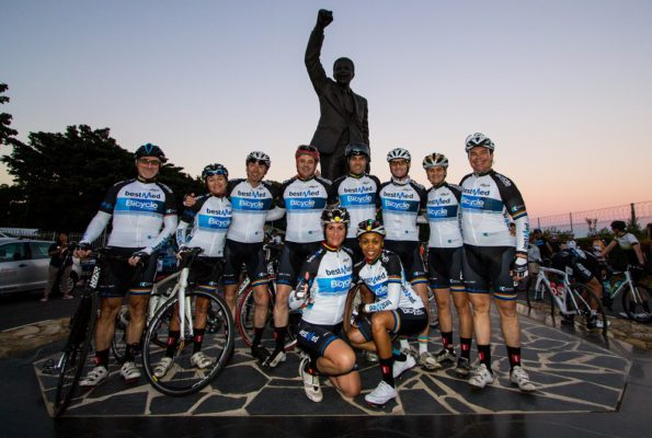Letshego Zulu (front right), pictured here with other riders at this year's Bestmed Tour of Good Hope, will be taking on the challenge of the Liberty Waterberg Encounter at Bela-Bela in Limpopo next week. Photo: Robert Ward