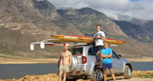 "Training Trio. Maties paddlers Carlisle Hartman, Dustin Starr and Evan Knight training at the Berg River Dam in preparation for the Berg River Canoe Marathon. ""We are all KZN guys, with plenty of Dusis and Draks behind us, so the Berg is a totally new challenge,"" said Knight. Supplied/ Gameplan Media"