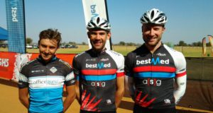 Dana Coetzee (centre) won the 60km men's race at the Bestmed Sondela MTB Classic ahead of Brendan Havenga (left) and Izak Strauss near Bela-Bela in Limpopo today. Photo: Johnny Koen