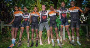 The BMT Fairtree Mountain Bike (MTB) Academy has set an impressive goal for all eleven riders that will be seen in action at the 3rd annual Fedhealth MTB Challenge at the picturesque Boschendal Wine Estate on Saturday, 16 and Sunday, 17 September 2017.  Seen here (from left to right):  BMT Fairtree Mountain Bike (MTB) Academy riders, Luanda Thobigunya, Bongani Bhusakhwe , Sandile Xetu, Chris Norton, Rasta Bhusakhwe, Max Mathini and Thando Nthuthu at the 2016 BUCO Origin Of Trails.  Photo Credit:  Tobias Ginsberg
