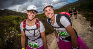 As part of its 10th anniversary celebrations event organisers are excited to announce that the AfricanX Trailrun presented by ASICS will also boast a new Festival Village in 2018 with the picturesque Boschendal Wine Estate stepping up to the plate as the new home of South Africa's premier three day stage trail run.  ENTRIES will OPEN on Wednesday, 19 July 2017 and are LIMITED to 350 teams.  Seen here (from left to right):  Chanel Hannah and Niquita Uys in action during the 2017 AfricanX Trailrun presented by ASICS.  Photo Credit:  Tobias Ginsberg