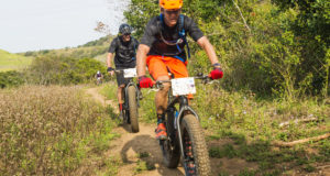 """""""We have a clear idea why we ride, and riding Fat Bikes is all about enjoying the riding,"""" says Grant Macpherson, seen here with Crispin Brien riding their Fat Bikes during last year's Sappi Scottburgh MTB Race. Supplied/Gameplan Media"""