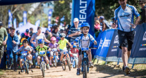 Junior mountain bikers are in for a treat at the 3rd annual Fedhealth MTB Challenge that will take place at the picturesque Boschendal Wine Estate on Saturday, 16 and Sunday, 17 September 2017.  Seen here:  Junior mountain bikers in action during the 2016 Fedhealth Kids MTB Events.  Photo Credit:  Tobias Ginsberg