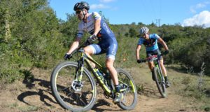 Gert Heyns (left), seen here leading Arno du Toit during the recent PwC Great Zuurberg Trek mountain bike race near Addo, will be the riders to watch in the mountain bike race at the University Sport South Africa championships in Port Elizabeth next month. Photo: Full Stop Communications