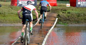 The floating bridge was a particularily challenging obstacle that saw many riders almost taking a swim.