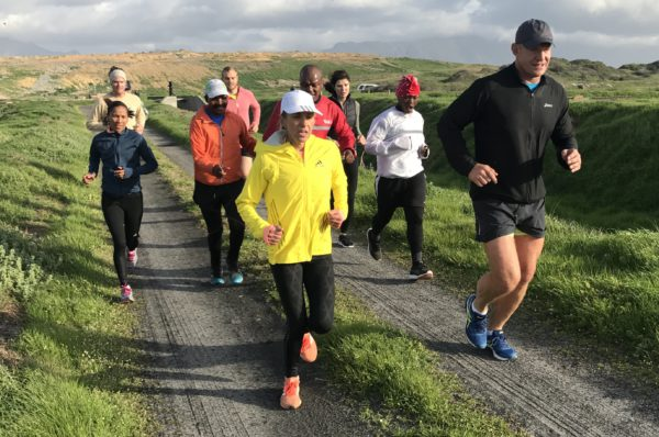 "Sanlam Cape Town Marathon ambassadors, Elana Meyer and Francois Pienaar lead the ""Captain's Challenge"" training run over a 10km course at False Bay Nature Reserve yesterday. Others FLTR, top Cape Town athlete, Nolene Conrad, Bird LIfe South Africa's Dale Wright, Gugulethu athlete Maxwell Godloza, Jean Williers, Vukile Sonandzi of City Vision, Nerine Pienaar and Khayelitsha runner, Duma Soko."