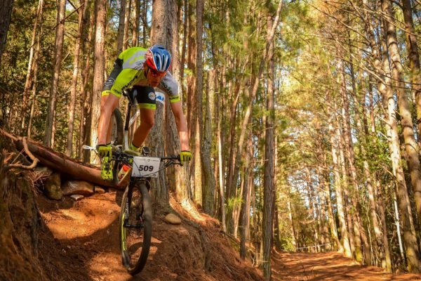 It was a family affair at the third round of the Madibaz XCO Series as brothers Matthys (pictured) and Gerrie Beukes won their age categories on Sunday. Photo: Chris Brooke