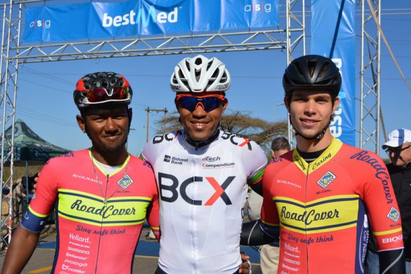 BCX's Nolan Hoffman (centre) took his second successive title at the Bestmed Cycle4Cansa Championship after winning the 103km road race ahead of RoadCover's Clint Hendricks (left) and Ryan Harris at Sun City on Sunday. Photo: Full Stop Communications