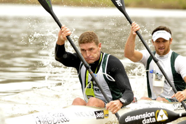 Hank McGregor and Jasper Mocké hung on to win the Men's K2 title at the South African Canoe Marathon Championships at Camps Drift on Sunday. Louis Hattingh/ Gameplan Media