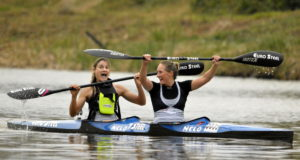 Jenna Ward and Nikki Russell secured their place in the national team to the world championships by winning the Women's K2 title at the South African Canoe Marathon Championships at Camps Drift on Saturday. Louis Hattingh/ Gameplan Media