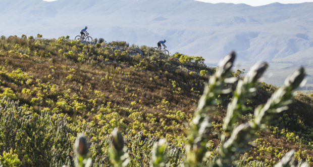 Scenic of 2 riders during shortened stage 2 of the 2017 Absa Cape Epic Mountain Bike stage race from Hermanus High School in Hermanus to Botanical Gardens in Caledon, South Africa on the 21st March 2017  Photo by Dominic Barnardt/Cape Epic/SPORTZPICS