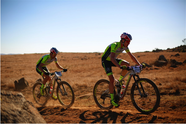 Pyga/Eurosteel team, Matthys Beukes (front) and Philip Buys (back) setting a hard pace on day 2 of the Ashburton Investments National MTB Series Dullstroom. Photo Credit: www.zcmc.co.za