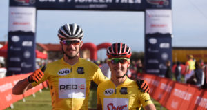 Matt Beers (left) and Alan Hatherly (right) secured back-to-back stage victories with their second stage win of the 2017 Momentum Health Cape Pioneer Trek, presented by Biogen, on Monday the 16th of October. Photo by Zoon Cronje.