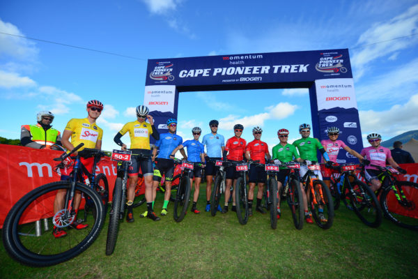 The various category leaders pose for a photo before the start of stage 6 of the 2017 Momentum Health Cape Pioneer Trek, presented by Biogen. From left to right: Alan Hatherly & Matt Beers (UCI Men), Charles McFall & Carmen Buchacher (Mixed), Tiaan Swart (Solo Men),  William Wertheim-Aymes & Deon Kruger (Masters Men), Fanie Venter & Friedrich Max (Veteran Men) and Ariane Luthi and Amy-Beth McDougall (UCI Women). Photo by Zoon Cronje.