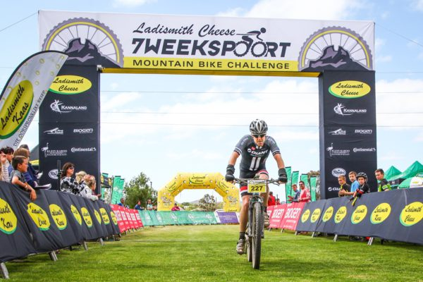 After placing second twice David Garrett finally secured the top step of the Ladismith Cheese 7Weekspoort MTB Challenge podium on the 30th of September 2017. Photo by Oakpics.com.