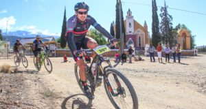 Francois Louw passes the Lutheran Church in Amalienstein during the 2017 Ladismith Cheese 7Weekspoort MTB Challenge. Photo by Oakpics.com.