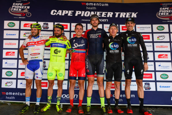 Momentum Health Cape Pioneer Trek, presented by Biogen, Stage 1 Podium. From left to right: Marek Rauchfuss & Jiri Krivanek (Kelly's Bikeranch); Alan Hatherly & Matt Beers (Team Spur/Red-E), and Gawie Combrink & Nico Bell (NAD Pro MTB). Photo by Zoon Cronje.