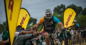 Riders in action on route at the 2016 FNB Wines2Whales Mountain Bike Events in 2017.  Photo Credit:  Tobias Ginsberg