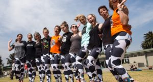 "A herd of +- 15 CHOC Cows will be seen in action the weekend of 18 – 19 November 2017 at the IMPI Challenge Obstacle Trail Run #4 at Wiesenhof Wildlife Park, Stellenbosch (Cape Town).  The CHOC Childhood Cancer Foundation SA was established in 1979 as a support group to parents of children with cancer.  The foundation realizes that there is more than one victim in the family of the child with cancer. Their aim is to ease the burden on parents by providing access to relevant, accurate information, as well as emotional and practical support.  ""By raising funds CHOC is able to make a difference to the children being treated for cancer throughout South Africa,"" says Daisy Cow aka Karen Saunders, CHOC Cows Manager.  ""Our Western Cape herd have targeted the IMPI Challenge in the past and thoroughly enjoyed it.  It fits with the craziness that goes with being a Cow.  It's the challenge, beauty and fun that attracts our herd to this event.   Our goal is to raise awareness of The Cows, and of CHOC and children with cancer. A secondary goal will be for our Cows to raise funds.""  Seen here (from left to right) at a Cows outdoor Yoga Day that was held in September and raised R10 000 for CHOC: Jackie Stiff, Theresa Munks, Allison van Veijeren (yoga instructor), Regan Saunders, Karen Saunders, Tayla Saunders, Cheryl Katzen, Adele Vieira, Cayleigh Brink, Gill Brink and Brenda Thomas."