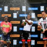 Gent's top 3 from left Clint Hendricks 2nd, Nolan Hoffman 1st and Rohan Du Plooy 3rd photo FREDLIN ADRIAAN 23/2/2017 THE HERALD Cycle Tour Main race. photo FREDLIN ADRIAAN 23/2/2017 THE HERALD