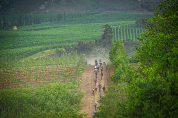 Mountain bikers in action during Stage Two of the FNB W2W MTB Ride. Photo Credit: Tobias Ginsberg
