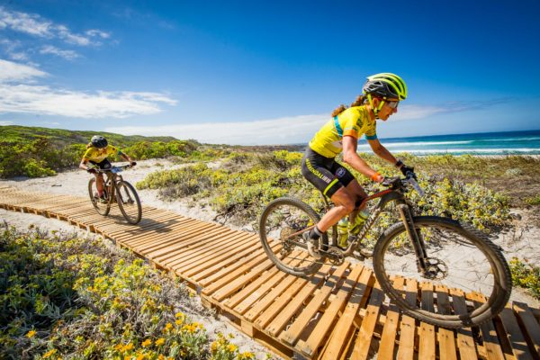 eam Meerendal CBC's Jennie Stenerhag and Adelheid Morath in action during Stage Three of the FNB Wines2Whales (W2W) MTB Race.  Photo Credit:  David Tarpey