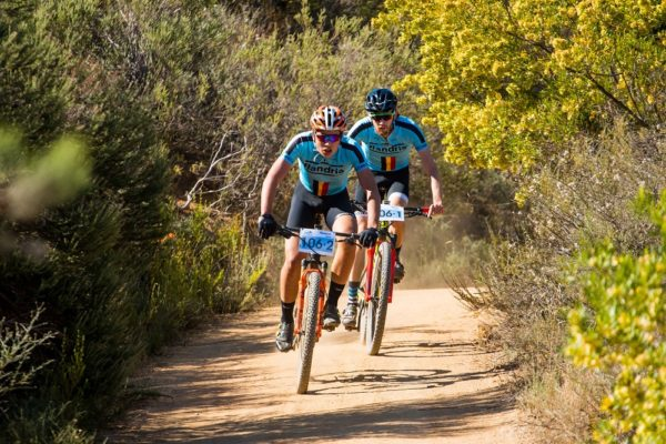 Stellenbosch teenagers Rossouw Bekker (front) and Robert Hobson, riding for Flandria Cycles, won the Sanlam MTB Invitational title at their first attempt when they led the field home in both stages of the two-day race at Rhebokskloof Wine Estate near Paarl in the Western Cape. Photo: Robert Ward