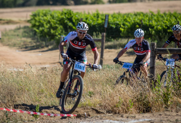 Pieter Seyffert (left) and Hanco Kachelhoffer, of Ellsworth-ASG, will be back to defend their title in the two-day Sanlam MTB Invitational race starting at the Rhebokskloof Wine Estate near Paarl on Saturday. Photo: Warren Elsom/Capcha Photography