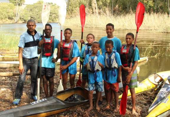 The Rock the Boat Programme run by the Grootbos Foundation and Stanford Canoe Club recently won the runner-up award at the annual Jack Cheetham and Letsema Awards run annually by Murray and Roberts. Pictured are some of their paddlers from the Stanford River Festival earlier this year. Supplied/ Gameplan Media