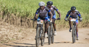 The trio of Change A Life Rider dicing for third place in the 40km MTB race at the STIHL Sharks Trail Adventure at Summerveld Estate, from left Scelo Mhlongo, Bongmusa Zikhali, Ndumiso Dontso.