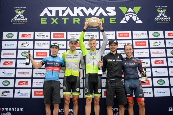 The 2018 Momentum Health Attakwas Extreme, presented by Biogen, men's podium. From left to right: Frans Claes (4th), Philip Buys (3rd), Matthys Beukes (1st), Tim Bohme (2nd) and Dylan Rebello (5th). Photo by Marike Cronje.