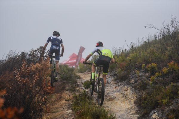 Gert Heyns, of DSV, raced to the King of the Mountain title at the summit of the Attakwas Pass. Photo by Zoon Cronje.