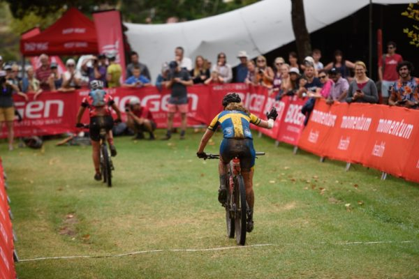 Cape Brewing Co's Jennie Stenerhag crosses the finish line of the 2018 Momentum Health Attakwas Extreme, presented by Biogen, in second position. Photo by Zoon Cronje.