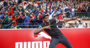 Usain Bolt visited the PUMA School of Speed high school athletics meet in Ruimsig Stadium.