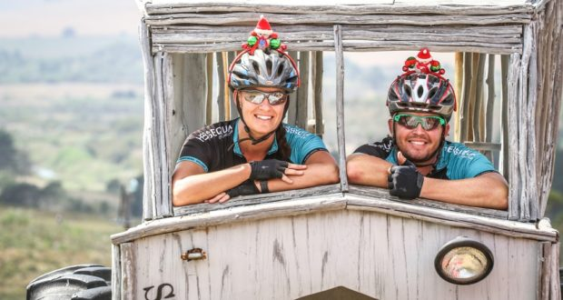 Lizelle Cloete & Charl Avenant embodied the spirit of the Stanford MTB Classic by dressing up for both days of the event and as such have won a weekend away at Stanford Hills. Photo by Oakpics.com.