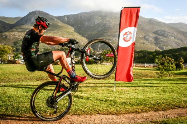 Local mountain biker, Gys Malan, shows off his skills ahead of the start of the Stanford MTB Classic. Photo by Oakpics.com.