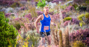 AJ Calitz and Lijan Van Niekerk claimed gold in the 12km XTERRA Trail Run at the Elgin-Grabouw Country Club on Saturday, 24 February 2018. Seen here:  AJ Calitz in action during the 12km XTERRA Trail Run in Elgin-Grabouw.  Photo Credit:  Tobias Ginsberg