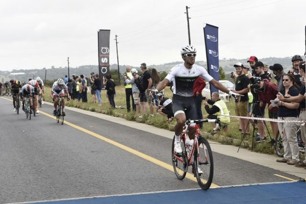 ProTouch rider Reynard Butler celebrates his victory in the Bestmed Berge en Dale 107km road race at Muldersdrift in the West Rand today. It was his second successive win after taking the Ride for Sight title last weekend. Photo: Mariola Biela