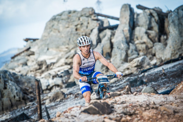 Stuart Marais in action at the 2017 Fedhealth XTERRA Grabouw.  Photo Credit:  Tobias Ginsberg