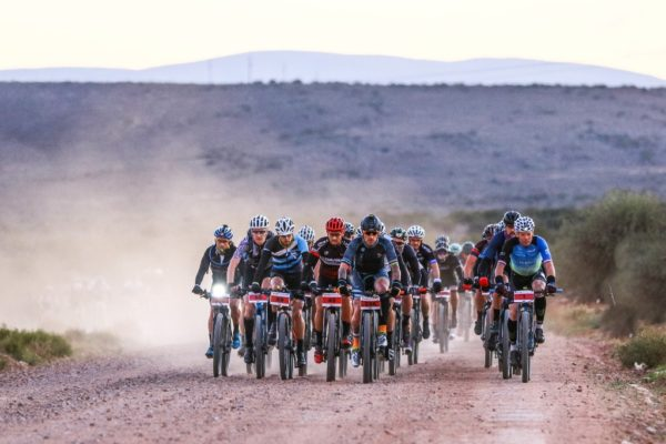 Ramses Bekkenk (far right) managed to complete the course in a time of 14 hours, 5 minutes and 19 seconds despite only riding in a large group for the first 30 kilometres of the course. Photo by Oakpics.com.