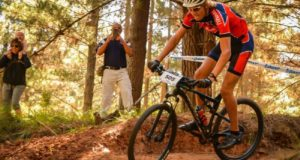 Petri Stander tackles a single-track section in the opening leg of the Madibaz MTB XCO Series at the Nelson Mandela University campus in George at the weekend. Picture: Chris Brooke
