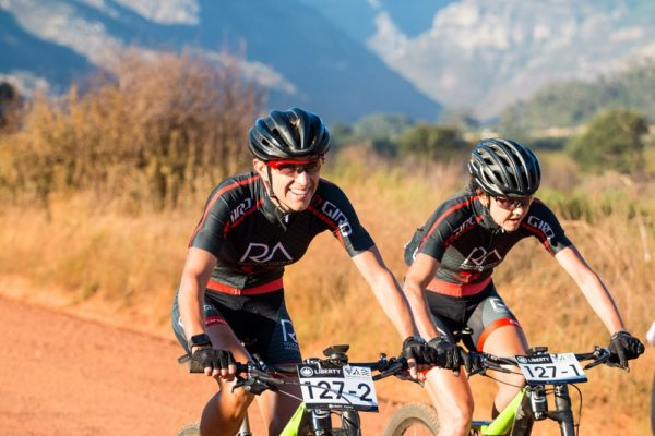 Marleen Lourens (left) and Louise Ferreira won the women's category in the Liberty Winelands Encounter mountain-bike race, presented by STANLIB, which finished at Nederburg Wine Estate near Paarl today. Picture: Robert Ward
