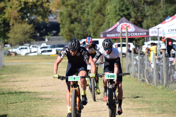 Stuart Marais (left) leads Henry Liebenberg and Komborero Bere (partly obscured) at the end of the first lap of the final leg of the KZN MTB Lap Challenge Series at Cascades on Sunday. Photo: Gavin Ryan, QuickPix