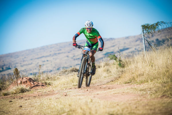 Philimon Sebona in action during the 2017 FNB Magalies Monster MTB Classic.  Photo Credit:  Tobias Ginsberg